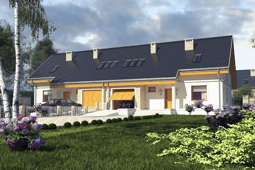 projekt Alka z garażem 1-st. bliźniak A-BL1
