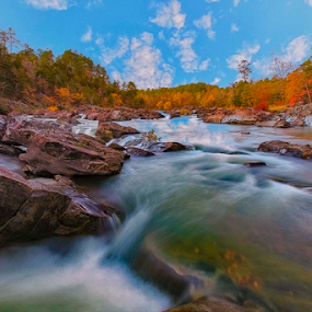 On the River by Michael Buffington - Landscapes Forests ( nature, autumn, fall, landscape, river )