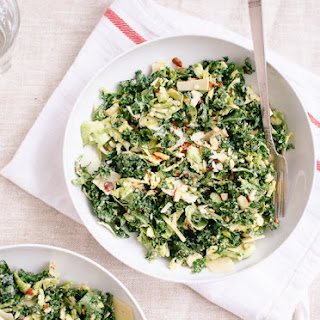 Raw Kale and Brussels Sprouts Salad with Tahini-Maple Dressing Recipe
