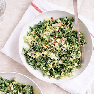 Raw Kale and Brussels Sprouts Salad with Tahini-Maple Dressing.