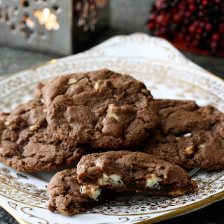 Chocolate Ginger Cookies with White Chocolate & Hazelnuts.