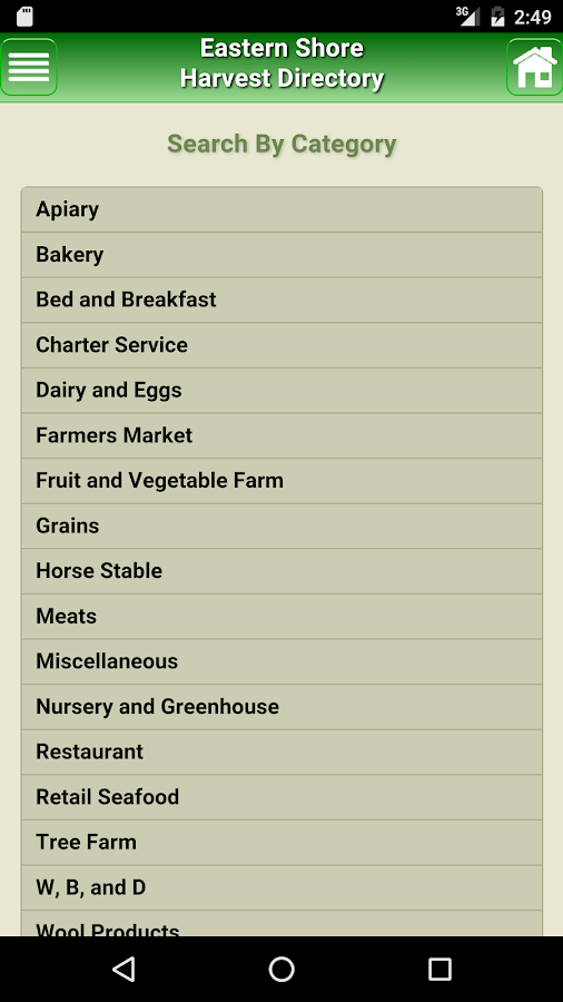 Eastern Shore HarvestDirectory- screenshot