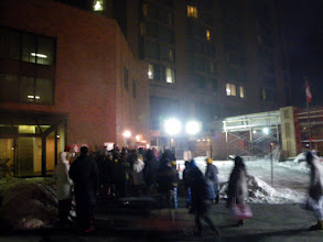 Photo: Fire on the tenth floor of the Holiday Inn Plaza le Chaudiere, 3:30 am, people going back in