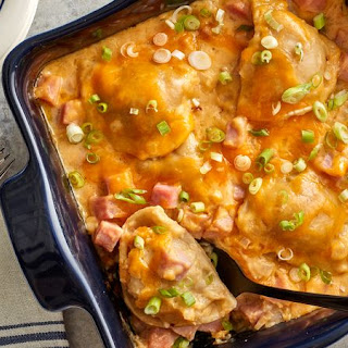 Ham and Cheddar Pierogi Bake.