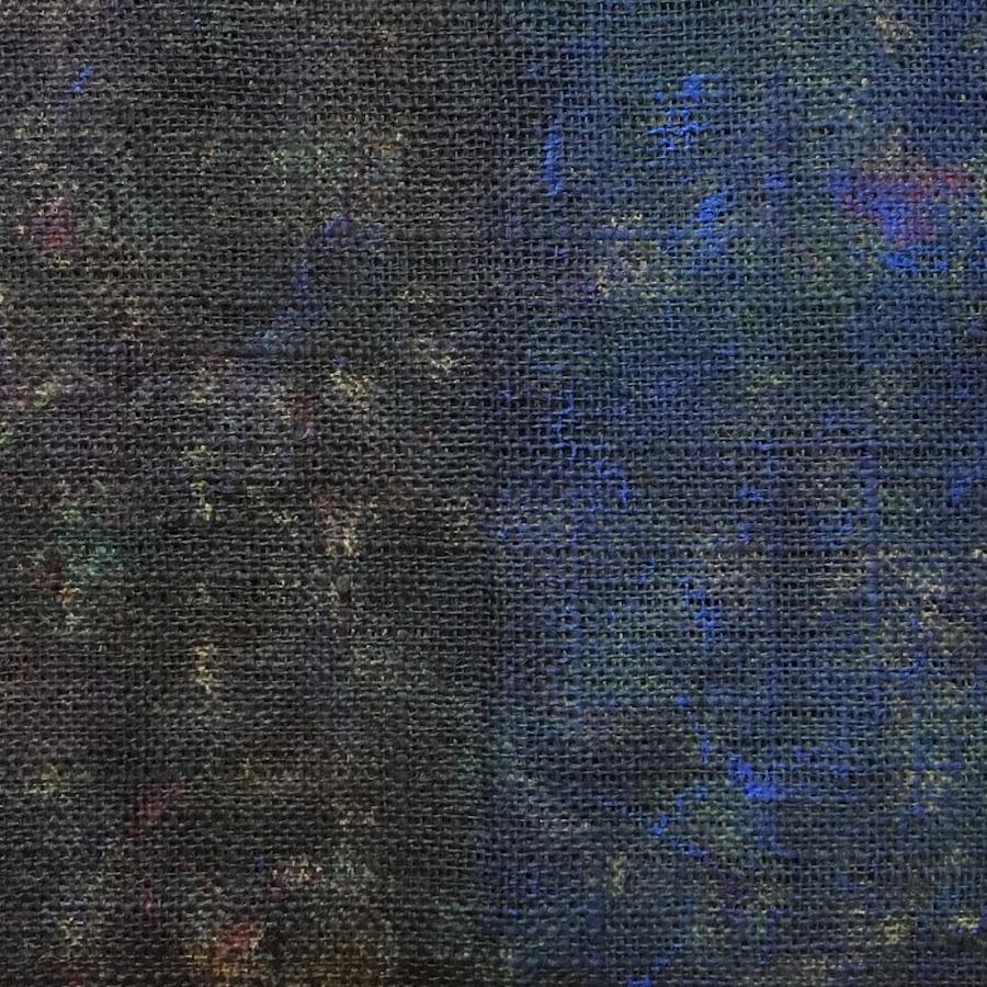 <p> Black + Blue<br /> 2018<br /> acrylic on burlap<br /> 12x12in 30x30cm</p>