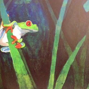 Finished my Prince Charming ? :))) by Amber O'Hara - Painting All Painting ( frog, green, dark, acrylic, painting )