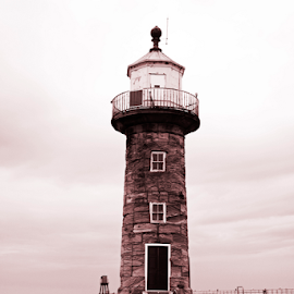 Whitby Lighthouse East Pier by Martin Davis - Buildings & Architecture Other Exteriors ( sepia, monochrome, safety, sky, harbour, pier, sea, seascape )