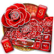 Silver Glitter Red Rose Keyboard Theme APK for Bluestacks