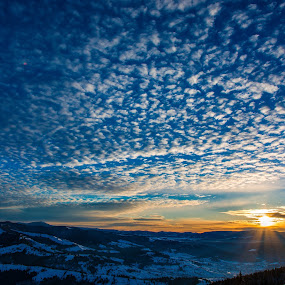 Winter morning in Bargau Mountains by Adrian LUPSAN - Landscapes Cloud Formations ( winter, morning )