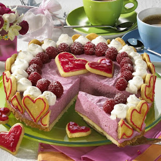 Raspberry Tart with Cookie Hearts