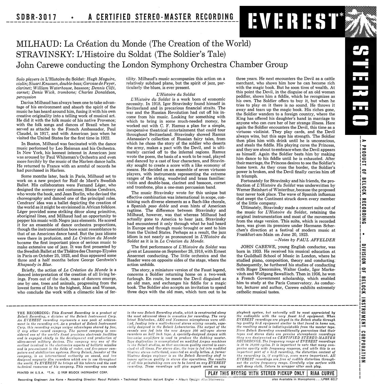 Darius Milhaud, Everest Records, Igor Stravinsky