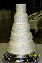 Photo: 5-Tier Fondant wedding dress replica w/rhinestones and fondant draping