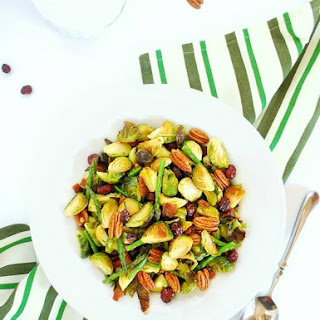 Roasted Brussels Sprouts & Asparagus with Maple Bacon & Pecans.
