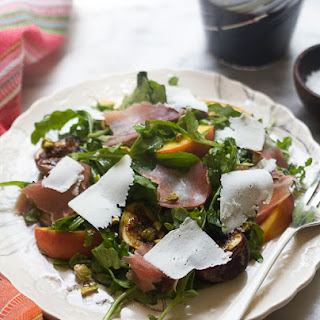 Grilled Fig and Peach Arugula Salad with Ricotta Salata and a Black Pepper Vinagrette Recipe