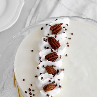 White Chocolate Mousse Cake with Mascarpone and Pecan.