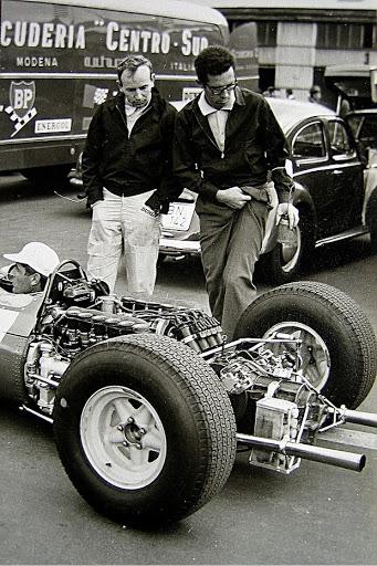 John Surtees and Mauro Forghieri.