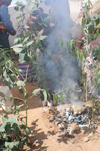 Photo: A burnt offering to Pachamama/Mary.  This is what they will continue to do throughout the year.