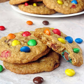 Coconut Oil Oatmeal M&M Cookies.