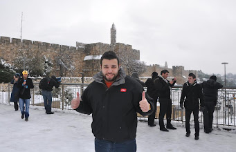 Photo: Where in the world is CSC? Greetings from CSC Israel. Hagob B., GSS manager in Jerusalem, in front of the snowy walls of the Old City of Jerusalem.