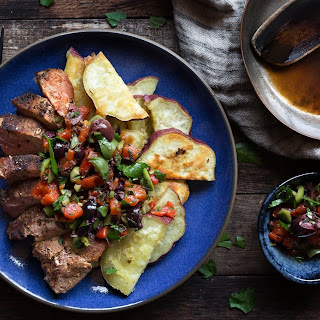 Pork Blade Steaks With Roasted Sweet Potatoes And Red-pepper Salsa