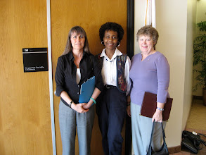 Photo: Barbara, Carol and Peggy outside the office.  Mina Choi (District Rep for Gary Miller) did not want her picture taken.