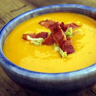 Sweet Potato-Leek Soup with Bacon and Crispy Leeks