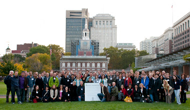 Photo: All of the B Corp Champions with the Declaration of Interdependence in fron of Independence Hall in Philadelphia.