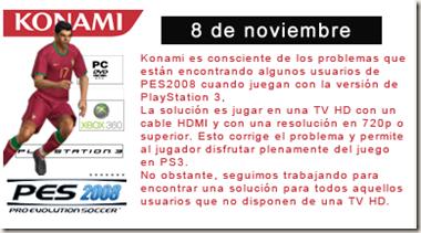 PES 2008 comunicado