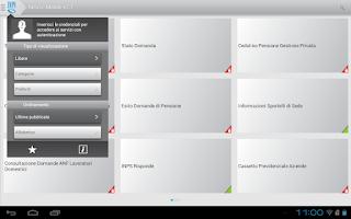 Screenshot of INPS Servizi Mobile per Tablet