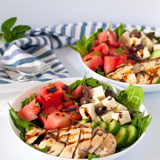 Greek Chicken Bowl with Watermelon and Feta