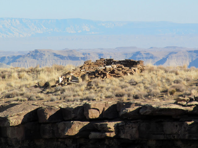 Circular ruin on top of butte