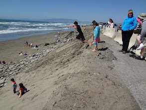 Photo: Jumping off the sand dunes at Ocean Beach