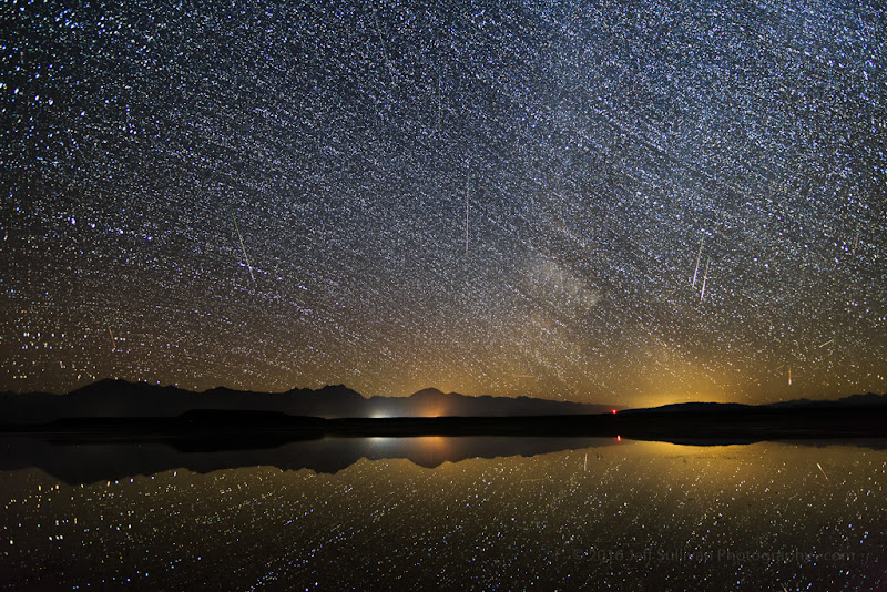 Photo: Southwest-facing Perseid meteors August 11.  This is a composite shot of the images with meteors in them.