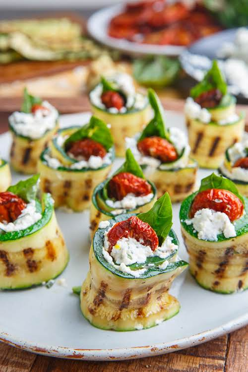 """Grilled Zucchini Rollups Stuffed with Lemon-Basil Ricotta and Slow Roasted Tomatoes """"Light..."""