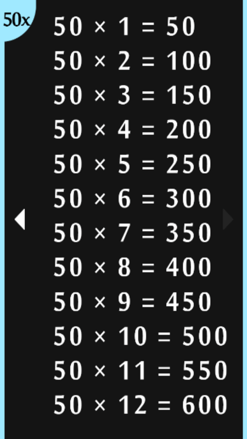 50 times tables multiplication android apps on google play - Multiplication table 1 to 50 ...