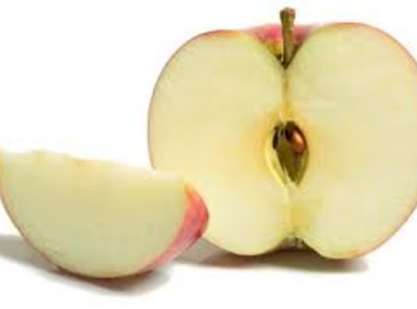 take one apple and slice it in half then take out the seeds and...