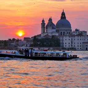 Santa Maria della Salute at sunset by Fred Goldstein - City,  Street & Park  Historic Districts ( church, sunset, grand canal, venice, italy,  )