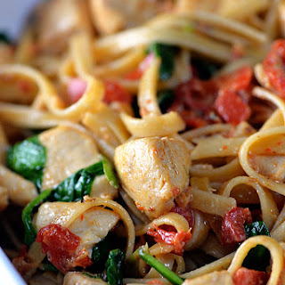Chicken Pasta with Roasted Red Pepper Cream Sauce.