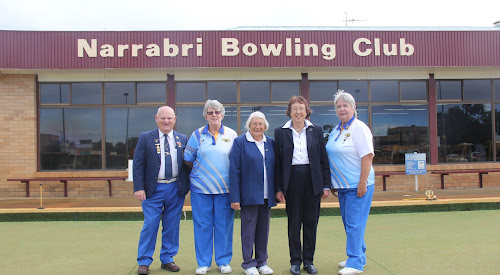 Narrabri Bowling Club president Allan Gray, Narrabri Women's Bowling Club secretary Lyn Wedesweiler, Region Three representative Elaine Radcliffe (Quirindi), director of Women's Bowls NSW Nannette Jemmeson and Narrabri Women's Bowling Club president Eva Sadler at the 60th anniversary celebration on Thursday.