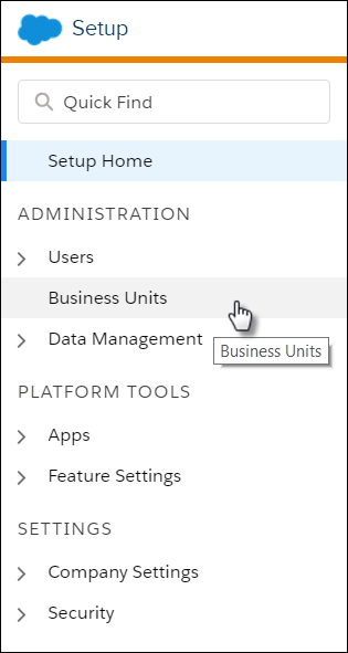 The Setup navigation menu with a mouse clicking Business Units.