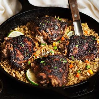 One Pan Jerk Chicken & Mediterranean Rice.