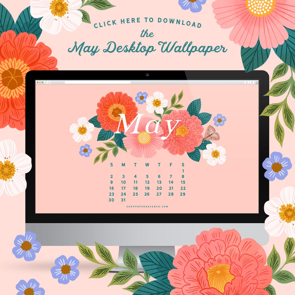 May 2021 Illustrated Desktop Wallpaper by Paper Raven Co. #dressyourtech #desktopwallpaper #desktopdownload
