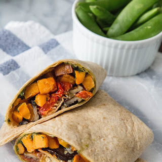Roasted Sweet Potato Wraps with Caramelized Onions and Pesto Recipe