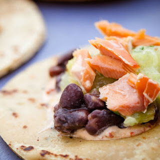 Smoked Salmon Tacos with Pineapple-Tomatillo Salsa