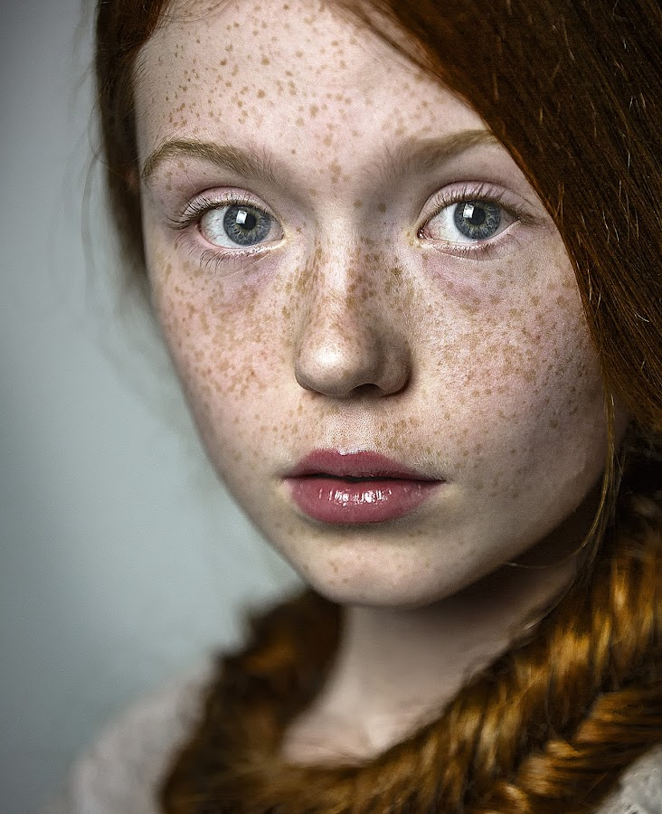 red hair by Christoph Reiter - People Portraits of Women ( red hair, freckles, vintage, kid, girl, blue eyes )