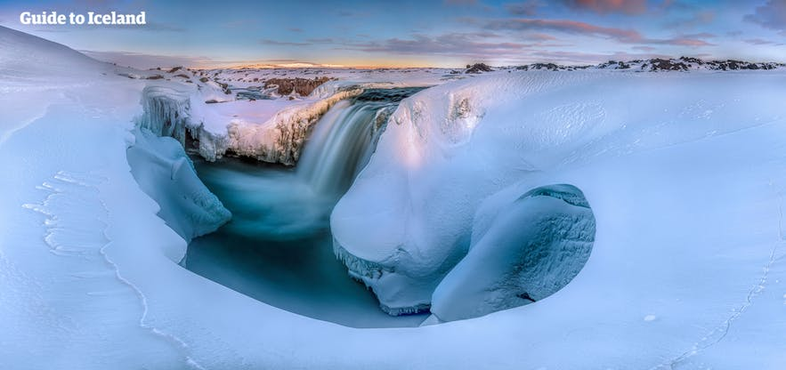 Waterfall freeze in the winter time in Iceland