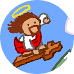 Snowboarding Jesus Icon