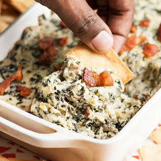 Spinach Artichoke Dip with Bacon.