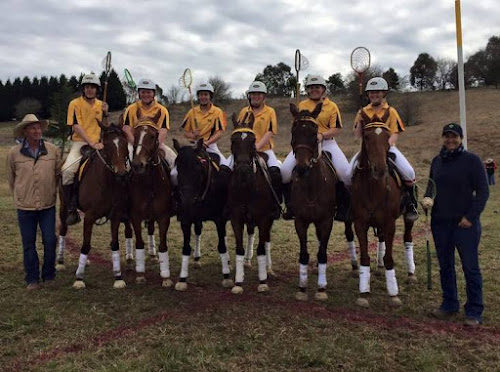 North West Plains number one Mixed Junior runners-up: Coach Lach Melbourne, Callum Lancaster, Gilbert Harris, Jess Melbourne, Felicity Elford, Mekenzie Parkes, Makayla Elford and coach Jane Melbourne. Photo: North West Plains Polocrosse.