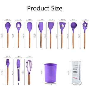 Set 11 ustensile din silicon, pentru gatit - Mov